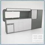 Badabing Vertex LWB VW T5/T6 Furniture With Front Loading Fridge - Monument Grey +splashback and light locker