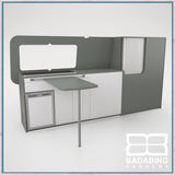 Badabing Vertex LWB VW T5/T6 Furniture With Front Loading Fridge - Monument Grey + table and splashback