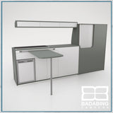 Badabing Vertex LWB VW T5/T6 Furniture With Front Loading Fridge - Monument Grey + table and light locker