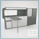 Badabing Vertex LWB VW T5/T6 Furniture With Front Loading Fridge - Monument Grey + table, splashback and light locker