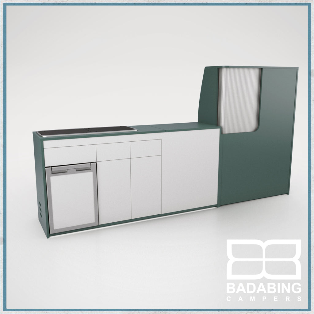 Badabing Vertex LWB VW T5/T6 Furniture With Front Loading Fridge - Niagara Green