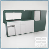 Badabing Vertex LWB VW T5/T6 Furniture With Front Loading Fridge - Niagara Green + splashback