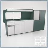 Badabing Vertex LWB VW T5/T6 Furniture With Front Loading Fridge - Niagara Green + splashback and light locker