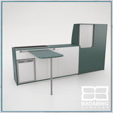Badabing Vertex LWB VW T5/T6 Furniture With Front Loading Fridge - Niagara Green + table