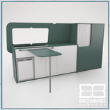 Badabing Vertex LWB VW T5/T6 Furniture With Front Loading Fridge - Niagara Green + table and splashback