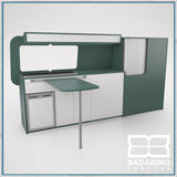 Badabing Vertex LWB VW T5/T6 Furniture With Front Loading Fridge - Niagara Green + table, splashback and light locker