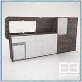 Badabing Vertex LWB VW T5/T6 Furniture With Front Loading Fridge - Pasadena Pine + splashback
