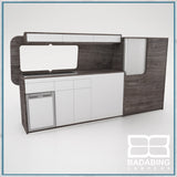 Badabing Vertex LWB VW T5/T6 Furniture With Front Loading Fridge - Pasadena Pine + splashback and light locker