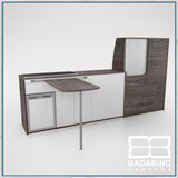 Badabing Vertex LWB VW T5/T6 Furniture With Front Loading Fridge - Pasadena Pine + table