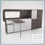 Badabing Vertex LWB VW T5/T6 Furniture With Front Loading Fridge - Pasadena Pine + table and splashback