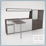 Badabing Vertex LWB VW T5/T6 Furniture With Front Loading Fridge - Pasadena Pine + table and light locker