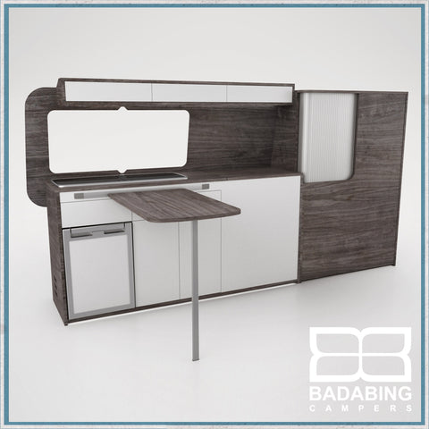 Badabing Vertex LWB VW T5/T6 Furniture With Front Loading Fridge - Pasadena Pine + table, splashback and light locker