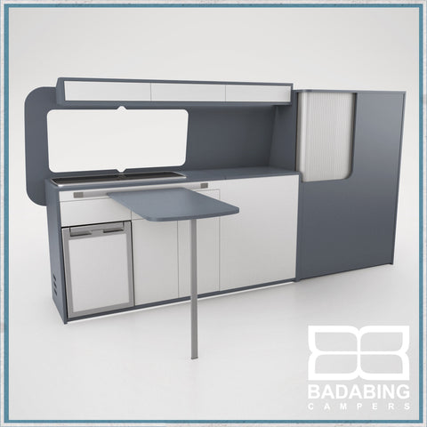 Badabing Vertex LWB VW T5/T6 Furniture With Front Loading Fridge - Smoke Blue + table, splashback and light locker