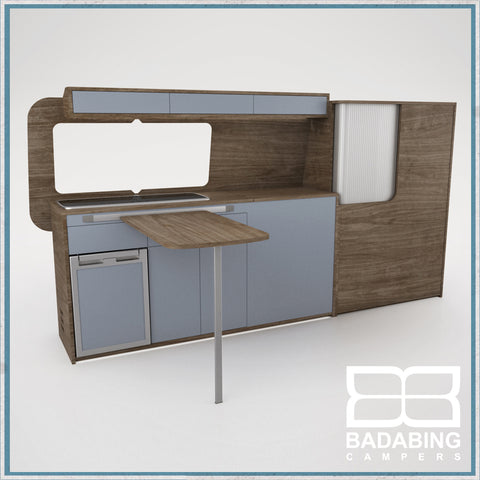 Badabing Vertex LWB VW T5/T6 Furniture With Front Loading Fridge - Tobacco Halifax Oak + table, splashback and light locker