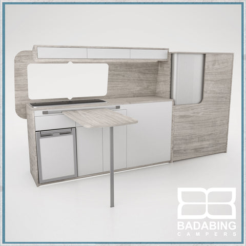 Badabing Vertex LWB VW T5/T6 Furniture With Front Loading Fridge - Whiteriver + table, splashback and light locker