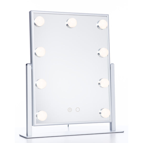 LumiPop - Hollywood Mirror med kaldt/varmt lys 9 LED - Solv
