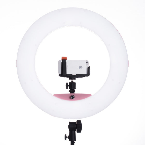 Lumipop - Vlog Ring Light & Vanity Mirror Raspberry - Komplett Kit med Stativ og Bordstativ