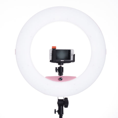 Lumipop - Vlog Ring Light & Vanity Mirror Raspberry - Kit med Stativ