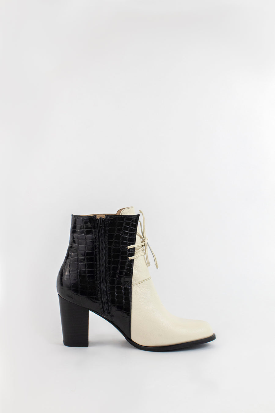 Lisbon ankle booties in ivory leather with black croc embossed cattle leather