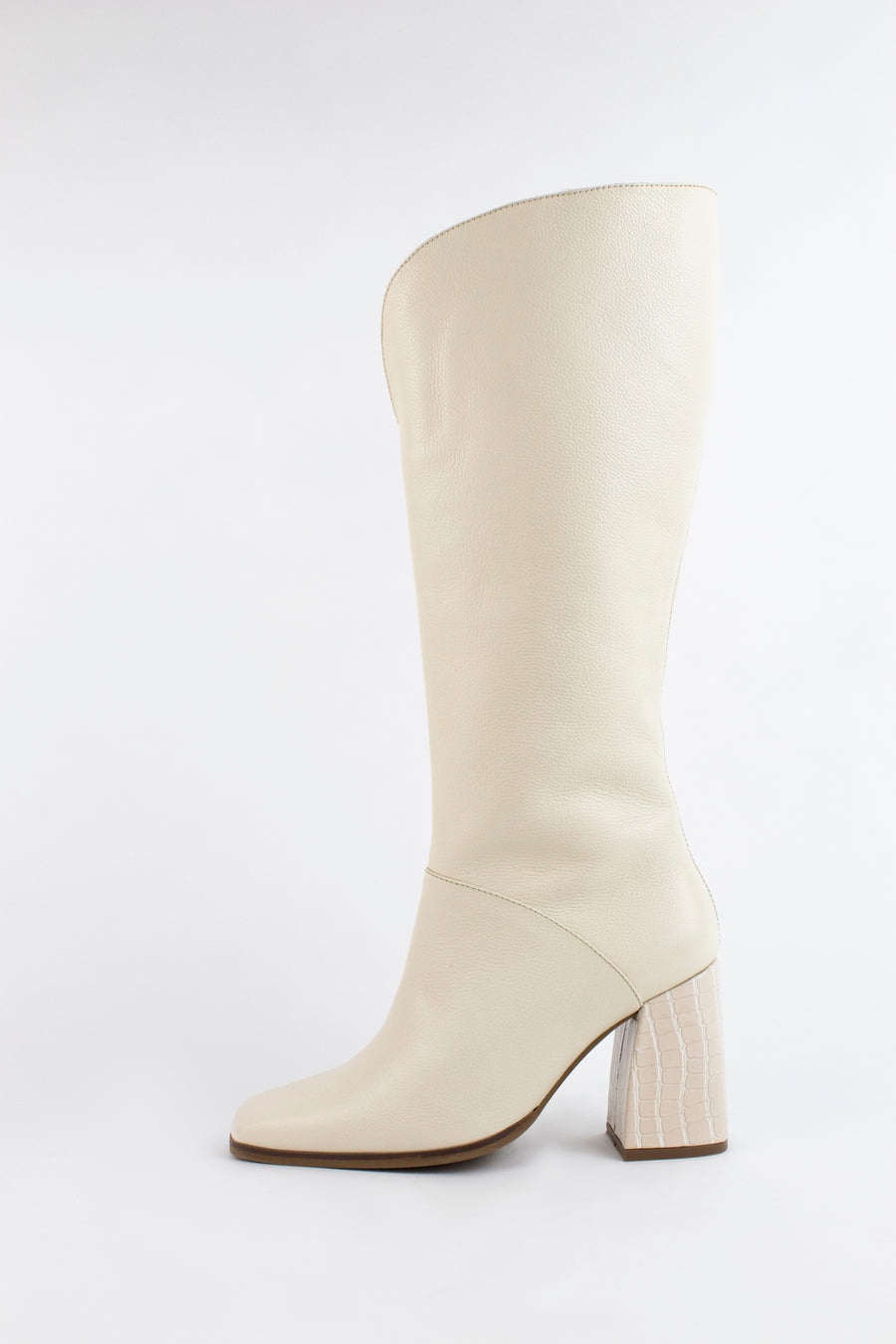 Alexandria knee high boots in Ivory leather