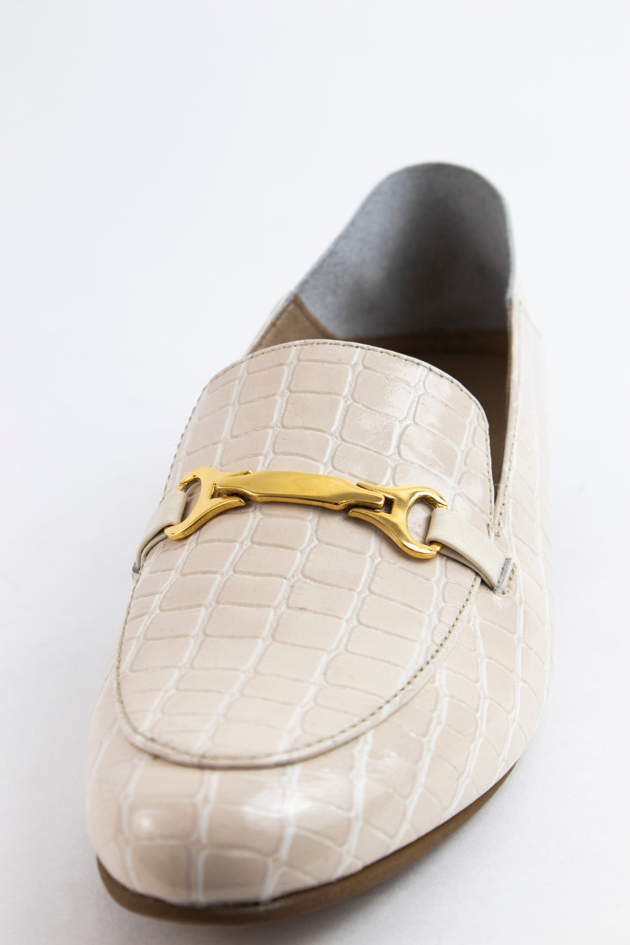 Prague loafers in ivory croc embossed leather