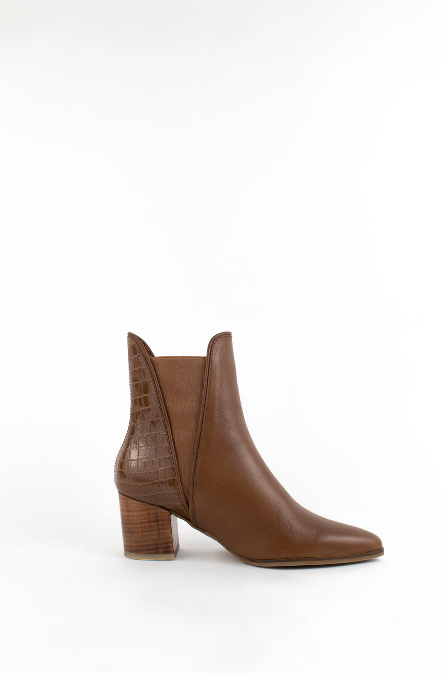 Beirut chelsea booties in tan leather by tan croc embossed leather