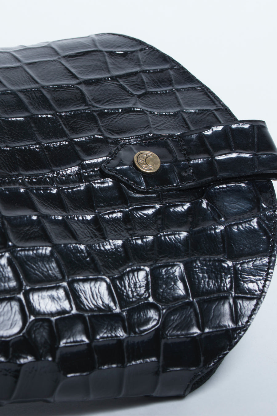 Macao western inspired boots in black croc leather