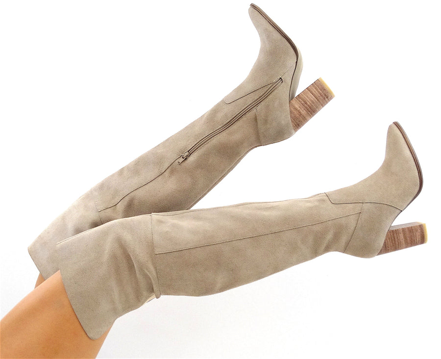 Cannes over-the-knee boots in sand suede leather