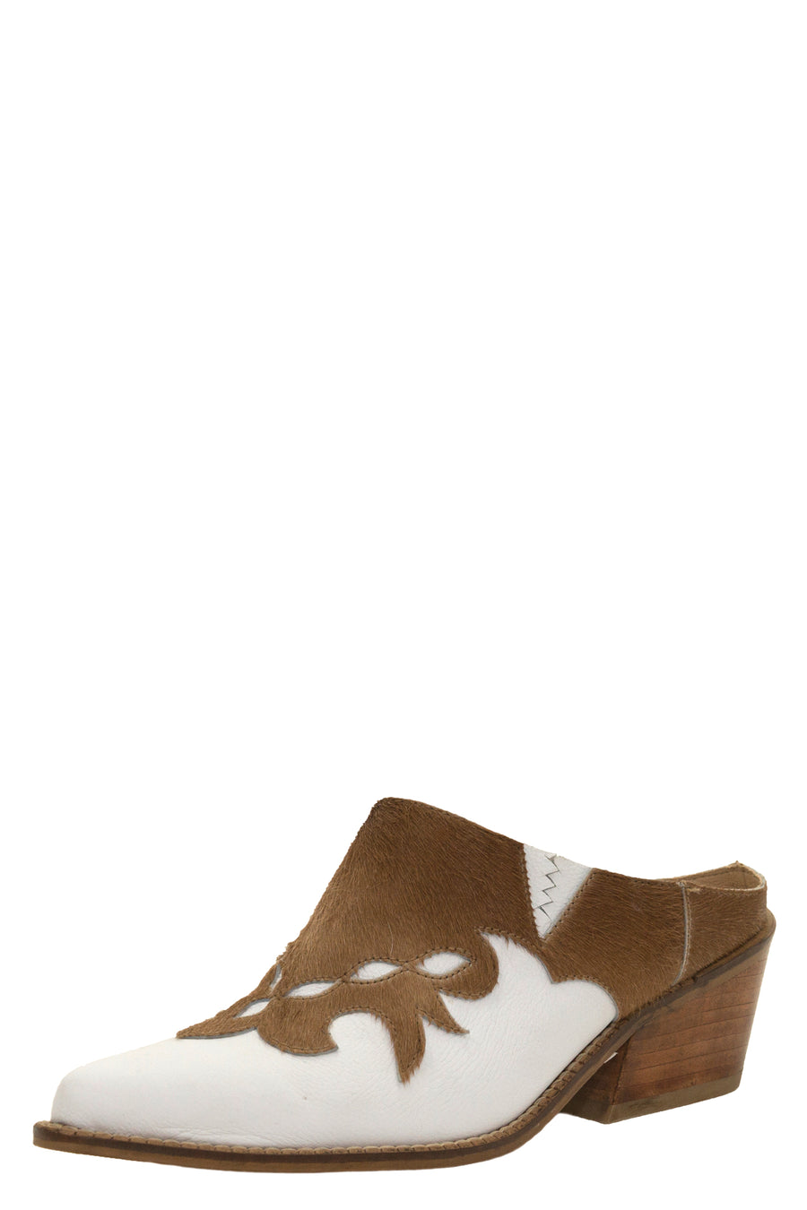 Fiorella mules in white leather along with brown cowhide leather