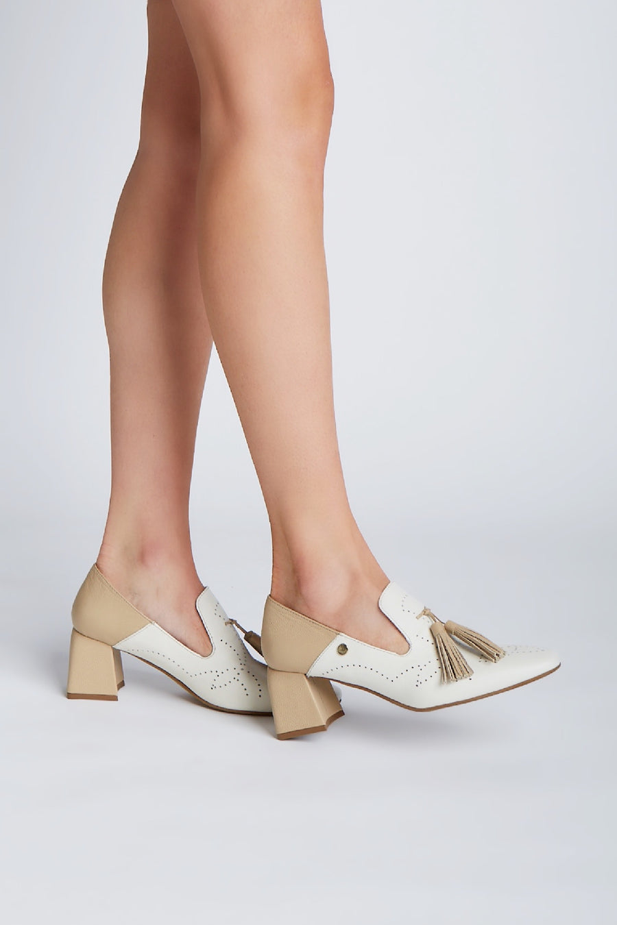 Flow heeled loafers in ivory/arequipe leather