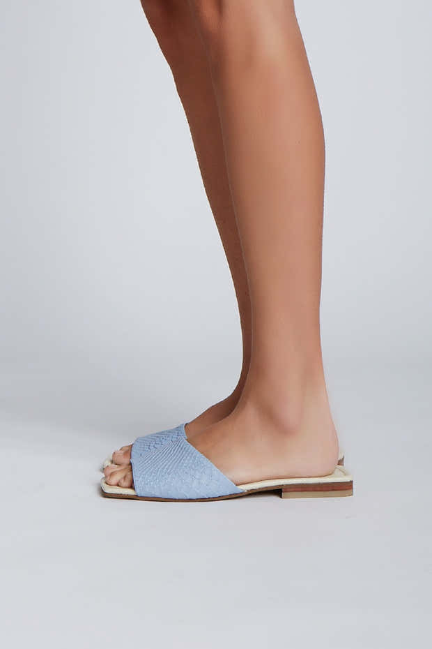 Serenity sandals in blue/ivory leather 1