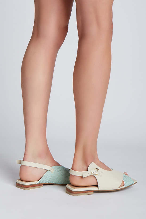 Root sandals in green/ivory leather 1