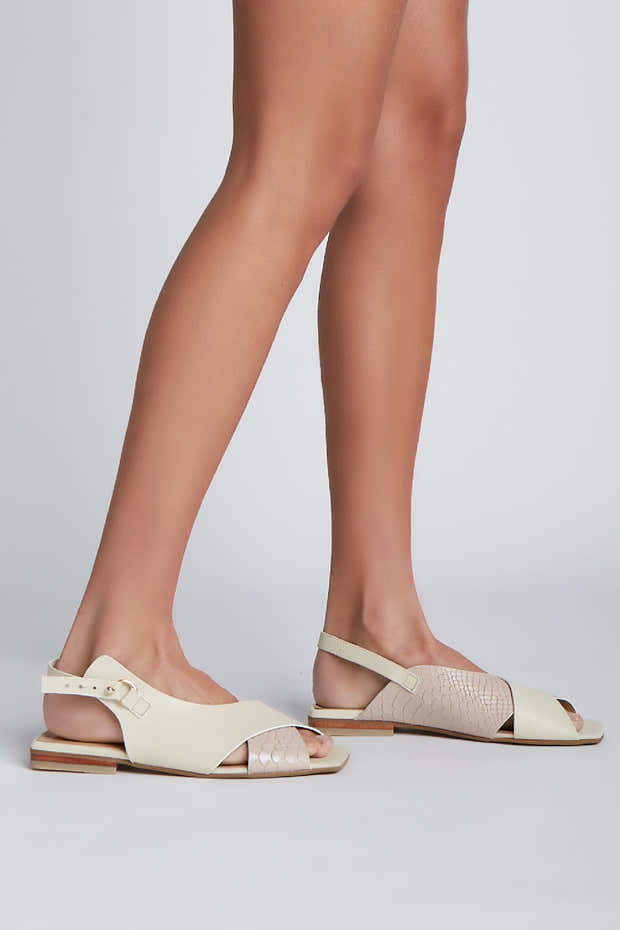Root sandals in nude/ivory leather 1