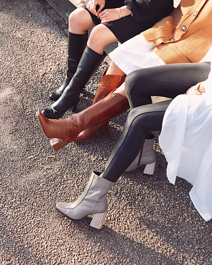 Alexandria knee high boots in tan leather