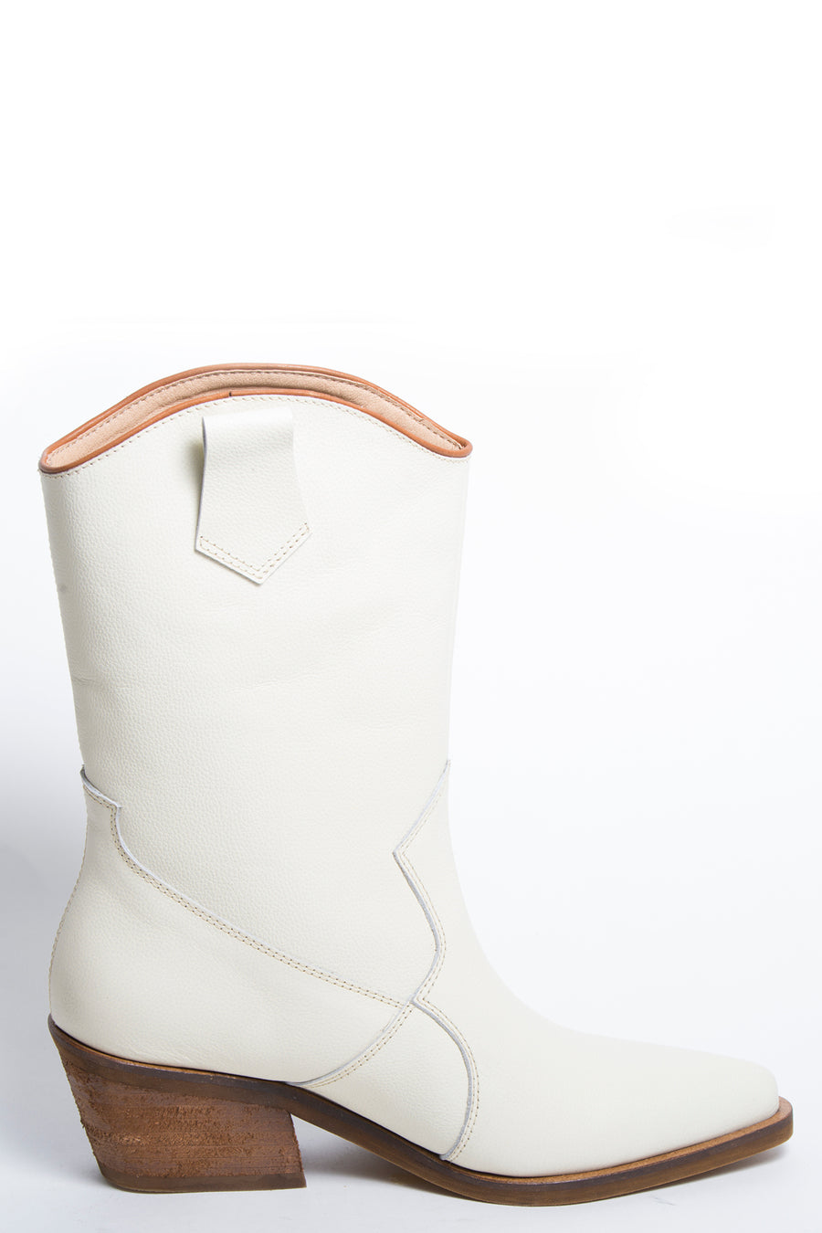 Santa Monica western inspired booties ivory leather