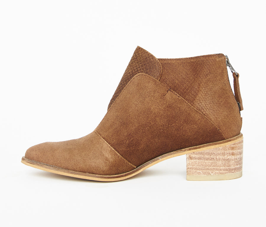 Tayrona booties in chocolate almond suede leather