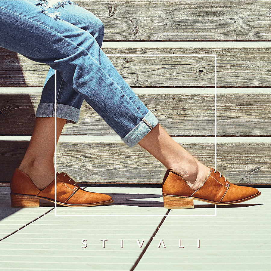 NYC sophisticated oxfords in tan leather