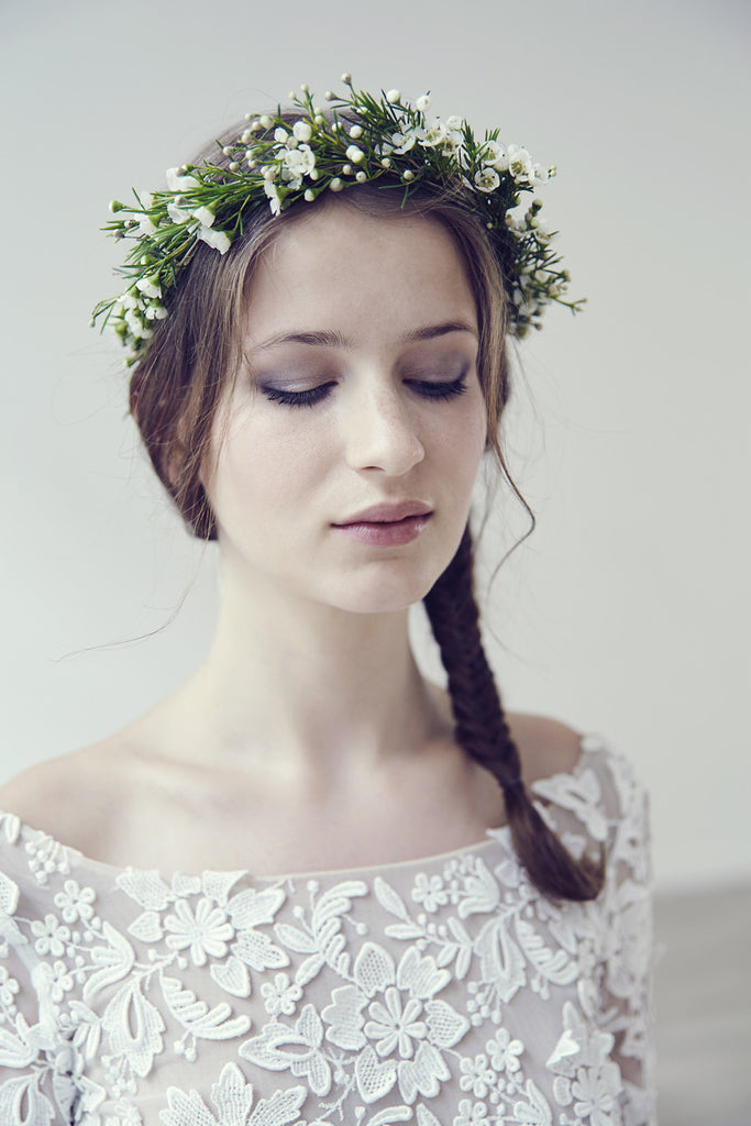 flower-crown-wax-bridal-hairstyle-2017-dress-clover-rime-arodaky-lily-griffiths