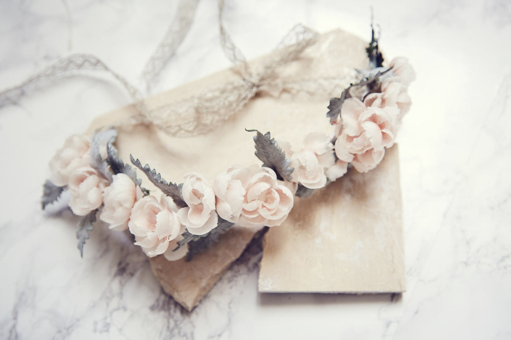 Baby Peach Flower crown silk made in France by Lily Griffiths.