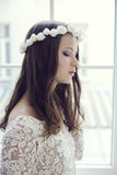 Off White bridal flower crown long lasting made in france with Rime Arodaky dress.