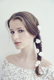 Off White Bridal fresh flowers long lasting bobby pins made in France with Rime Arodaky dress.