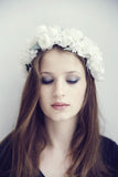 Bridemaids white flower crown silk handmade in France by Lily Griffiths.