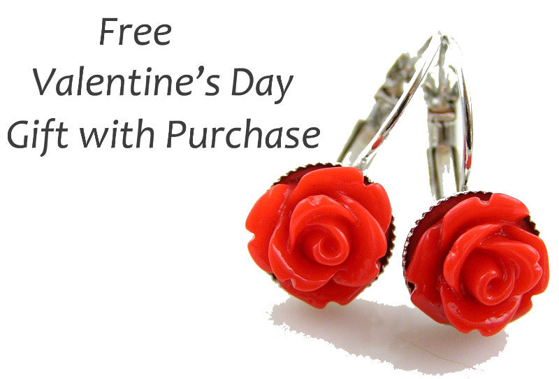 Gift with Purchase - Free Red Roses Earrings