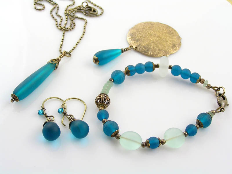Teal Sea-Glass and Solid Brass Jewelry