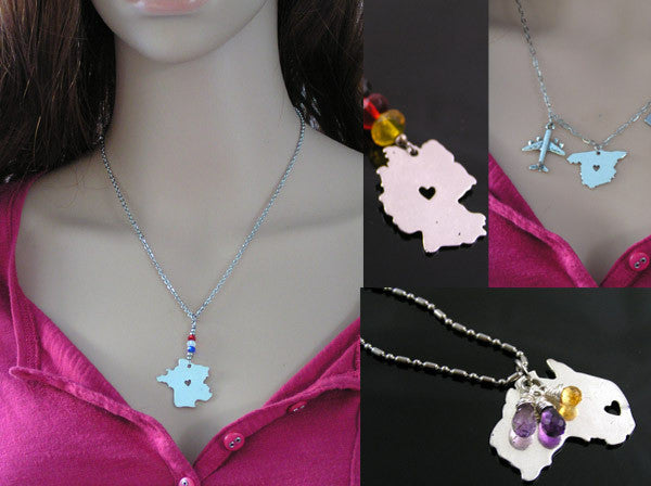 Map Necklaces with Germany, France, Spain and Australia Pendants