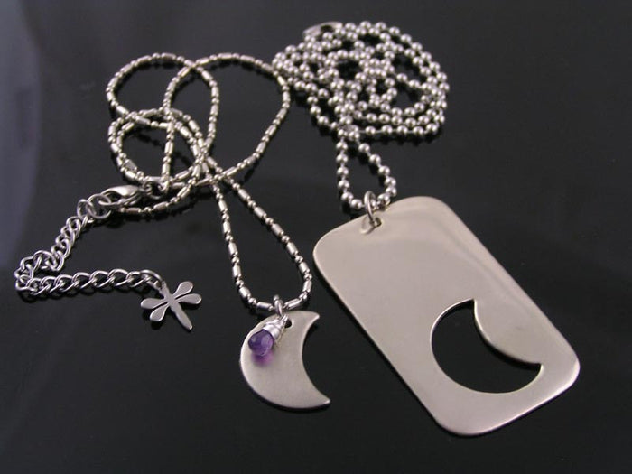 Personalized Matching Couple Necklace with Crescent Moon