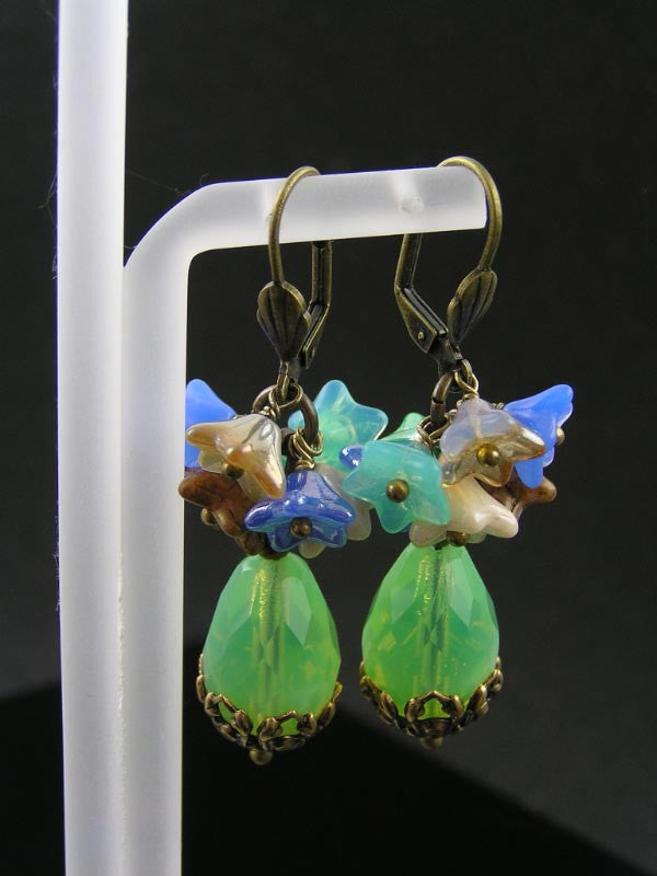 Opal Green Drops with Flower Cluster Earrings, Czech Bead Earrings