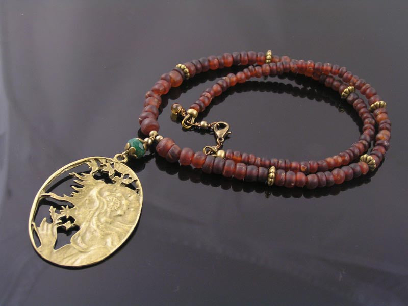 Natural Hessonite Garnet Necklace with Steampunk Pendant