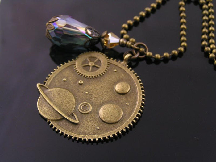 Steampunk Necklace with Crystal Drop