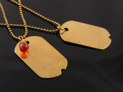 Matching Dog Tag Necklaces for Friends, Couples, Partners - Solid Golden Brass